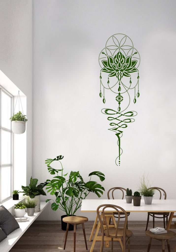 Lotus Flower of Life big mandala wall stencil 205x65cm, 81x26""