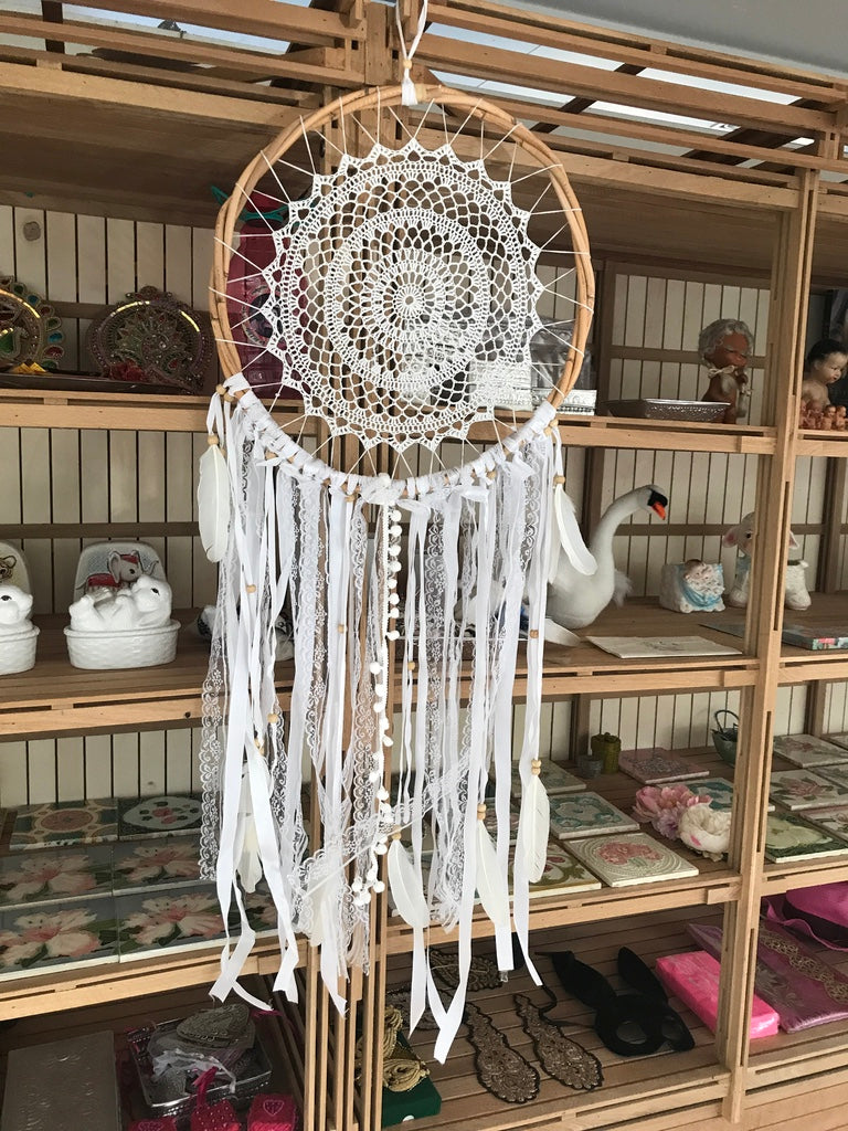 Dream catcher white crochet 42cm