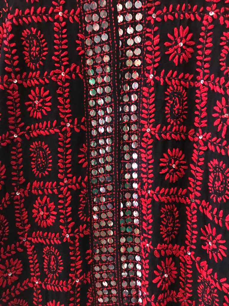 Black and red kimono style fully embroidered cardigan