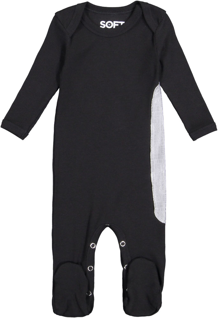J&B SOFT RIB BLACK AND SILVER ONESIE