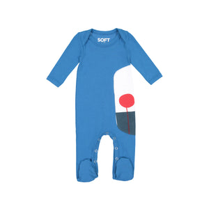 Jack and Becky Navy Onesie With White Trim