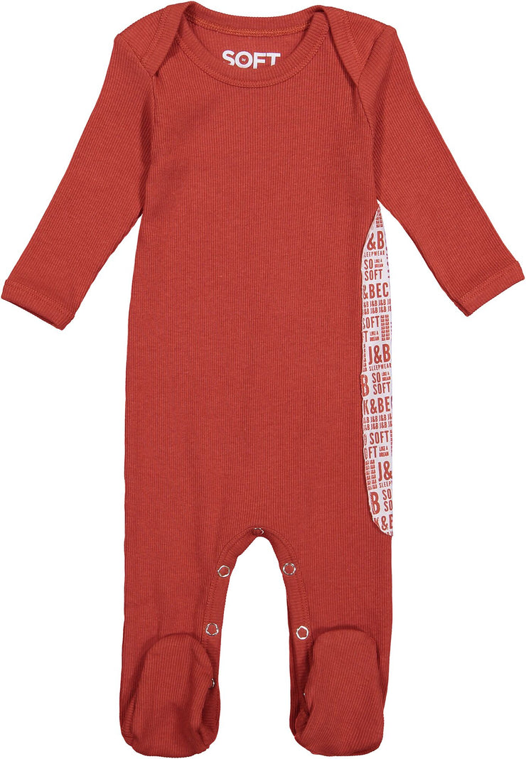 J&B SOFT RIB BURNT ORANGE ONESIE