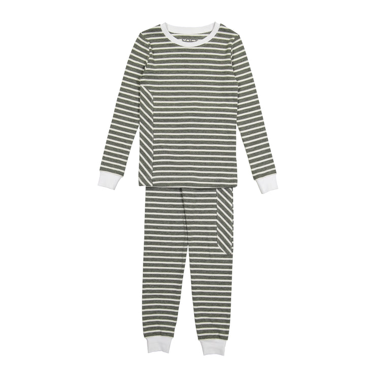 J&B SOFT STRIPE COLLECTION White & Deep Ivy Pajama