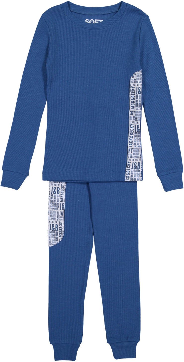 J&B SOFT RIB DARK BLUE PAJAMA