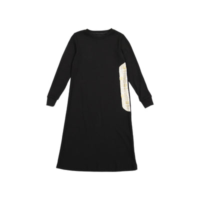 J&B SOFT RIB BLACK AND GOLD NIGHTGOWN