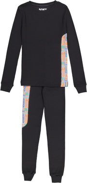J&B SOFT RIB BLACK AND COLOR PAJAMA