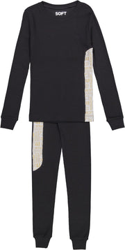 J&B SOFT RIB BLACK AND GOLD PAJAMA