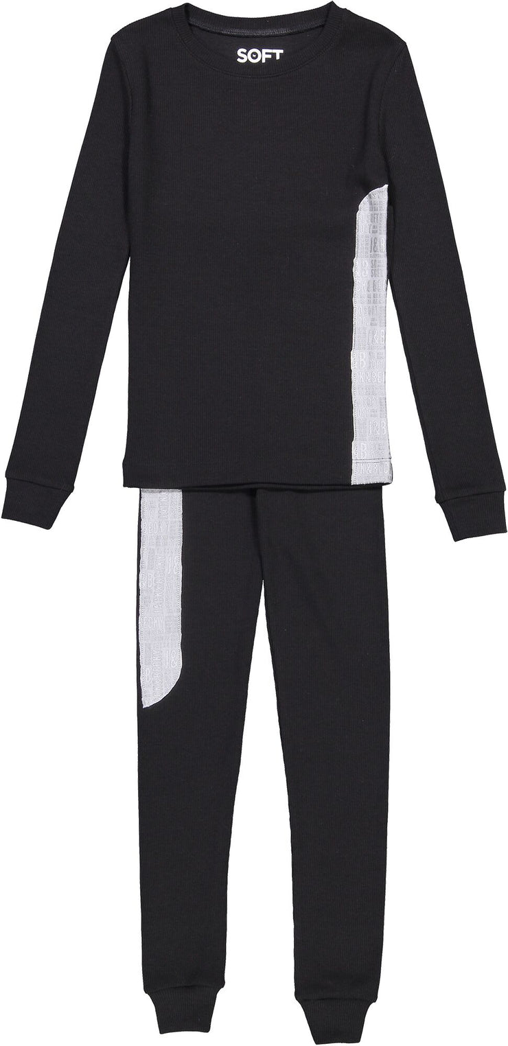 J&B SOFT RIB BLACK AND SILVER PAJAMA