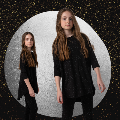 TEENS BLACK WITH SILVER DOTS PAJAMA