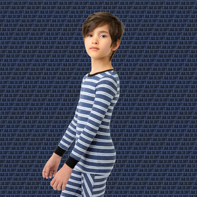 J&B SOFT STRIPE COLLECTION Denim & Dusty Blue Pajama