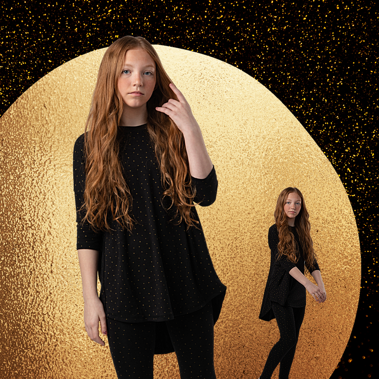 TEENS BLACK WITH GOLD DOTS PAJAMA