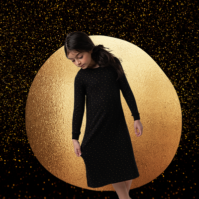 BLACK WITH GOLD DOTS NIGHTGOWN