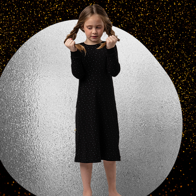 BLACK WITH SILVER DOTS NIGHTGOWN