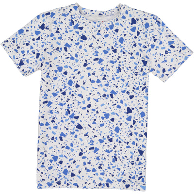 BOYS TERRAZO BLUE IN WHITE SHORT SLEEVE T SHIRT