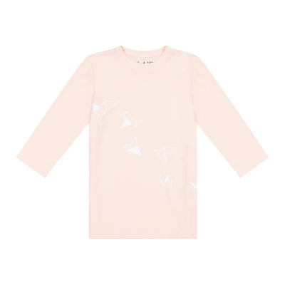GIRLS ORIGAMI BIRDS IN PINK 3/4 SLEEVE T SHIRT