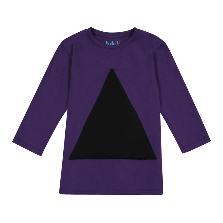 GIRLS TRIANGLE IN PURPLE 3/4 SLEEVE T SHIRT