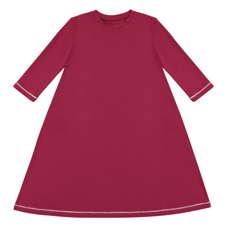 IVORY IN RED 3/4 SLEEVE DRESS