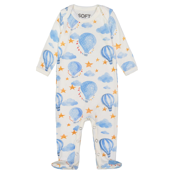 BOYS BLUE BALLOON IN IVORY ONESIE