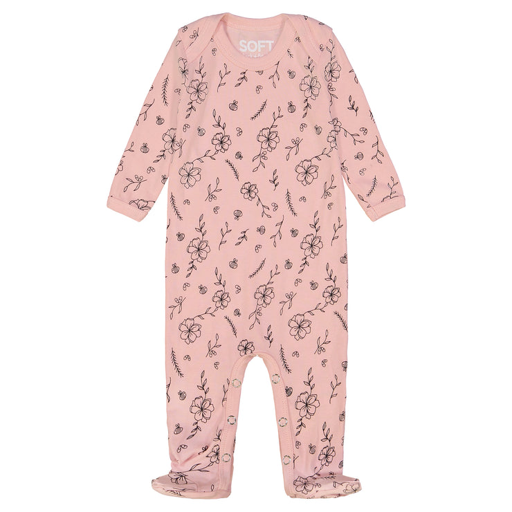 GIRLS FLOWER BEES IN PEACH ONESIE
