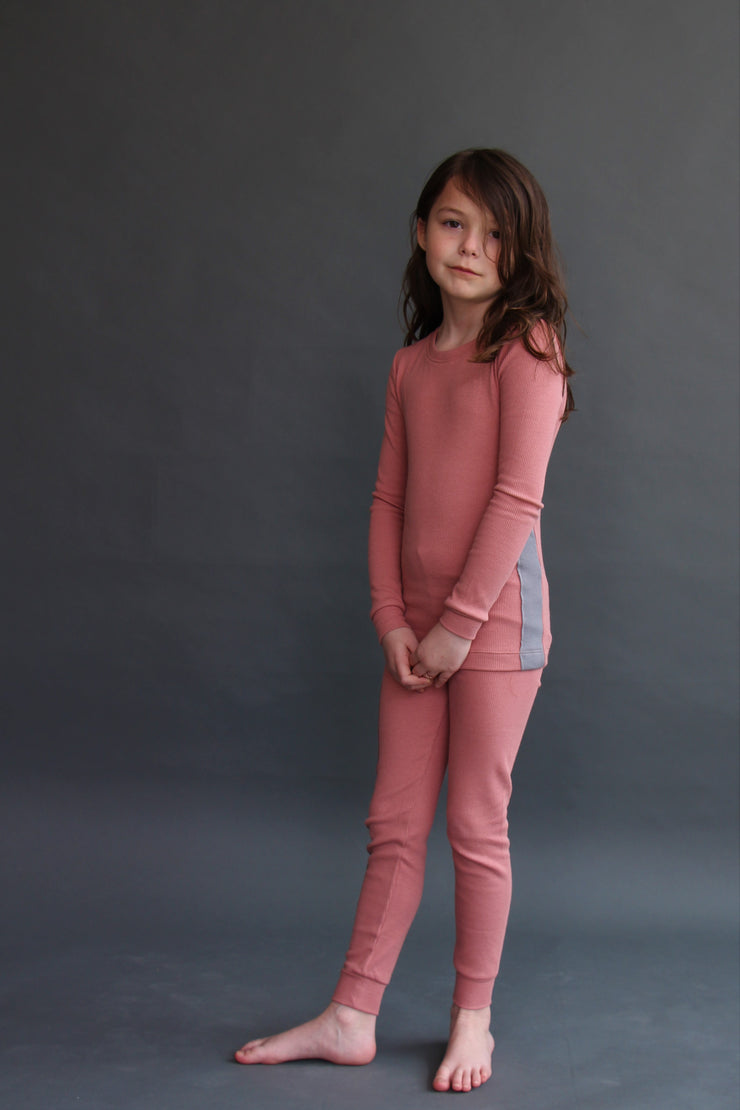 RIBBED ASH ROSE GIRLS PAJAMA