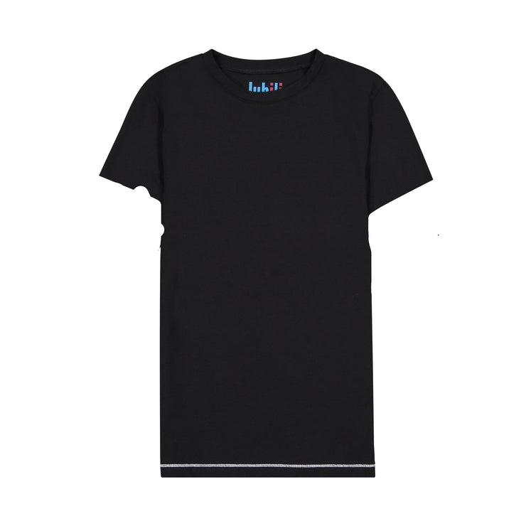 GIRLS IVORY CONTRAST IN BLACK SHORT SLEEVE T SHIRT