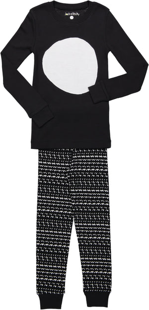 Jack and Becky Black Pajamas With White Circle Patch