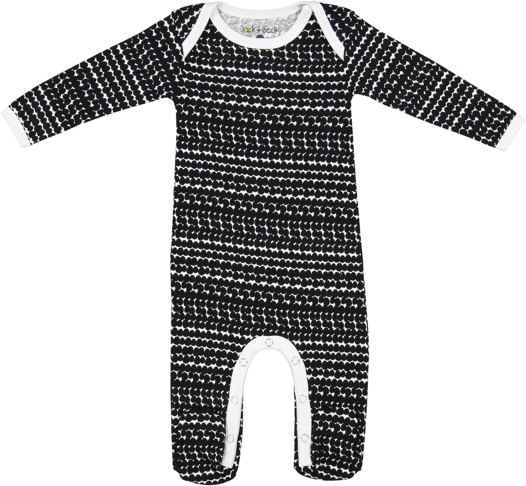 Jack and Becky Black Onesie With Black Circle Print