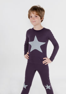 Jack and Becky Dark Purple Pajamas With Dove Star Patch