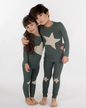 Jack and Becky SOFT Pine Heather Pajamas with Gold Shimmer Star Patch