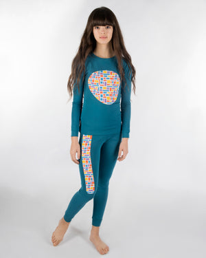 Jack and Becky SOFT Blue Bamboo Pajamas with Bricks Print Patches