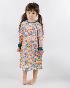 Jack and Becky SOFT  Nightgown with Blue Bamboo Bricks Print
