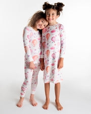 GIRLS PINK BALLOON IN IVORY PAJAMA