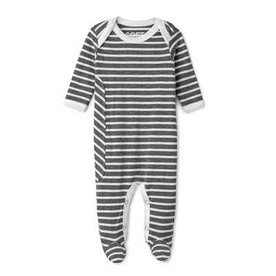 J&B STRIPE COLLECTION Black And White Onesie