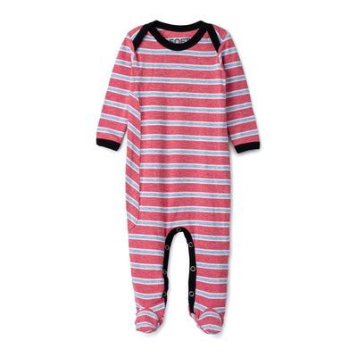 J&B STRIPE COLLECTION Rose And White Onesie