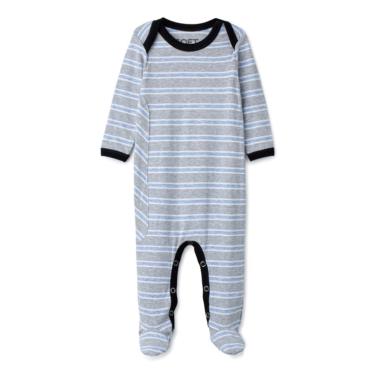 J&B STRIPE COLLECTION Steel And Dusty Blue Onesie
