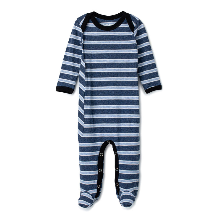 J&B STRIPE COLLECTION Denim And White Onesie