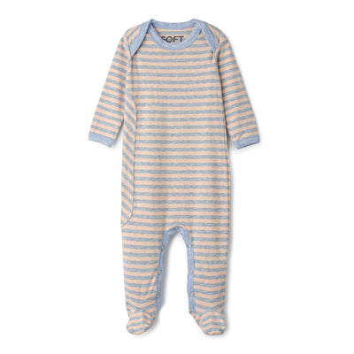 J&B STRIPE COLLECTION Coral And Dusty Blue Onesie