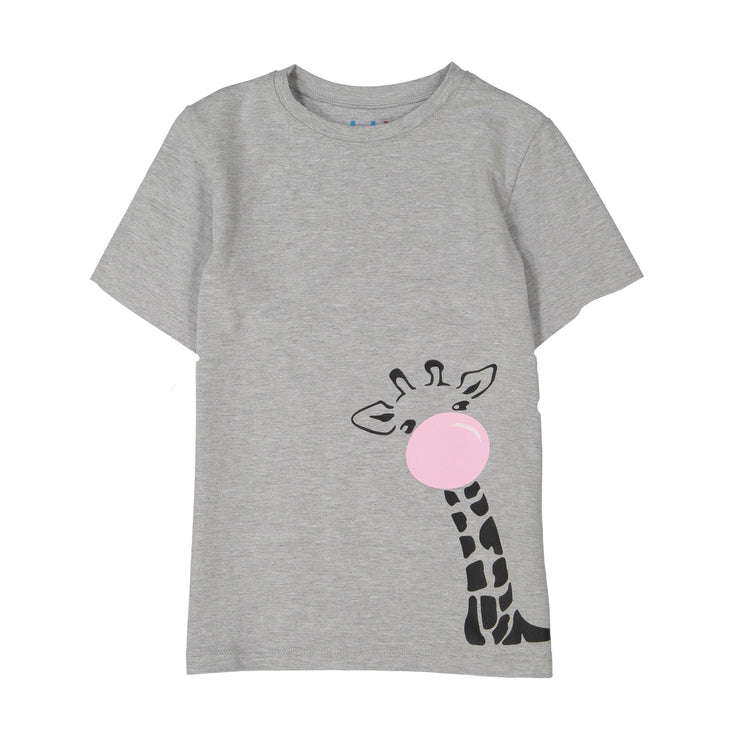 GIRLS PINK GIRAFFE IN MELANGE 10% SHORT SLEEVE T SHIRT