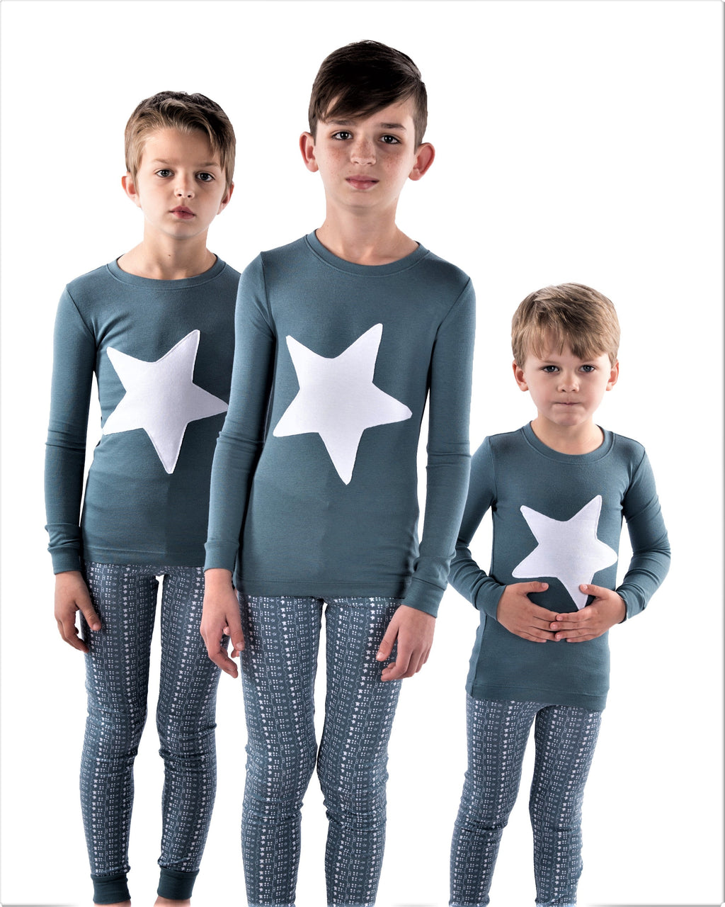 Jack and Becky SOFT Fall Blue Pajamas With Star Patch