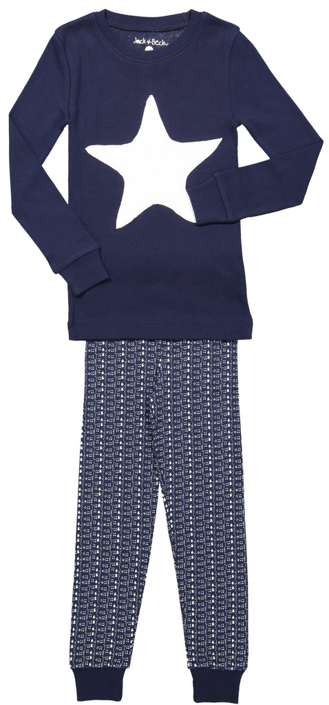 "Jack and Becky ""Soft Blue"" Pajamas With White Star Patch"