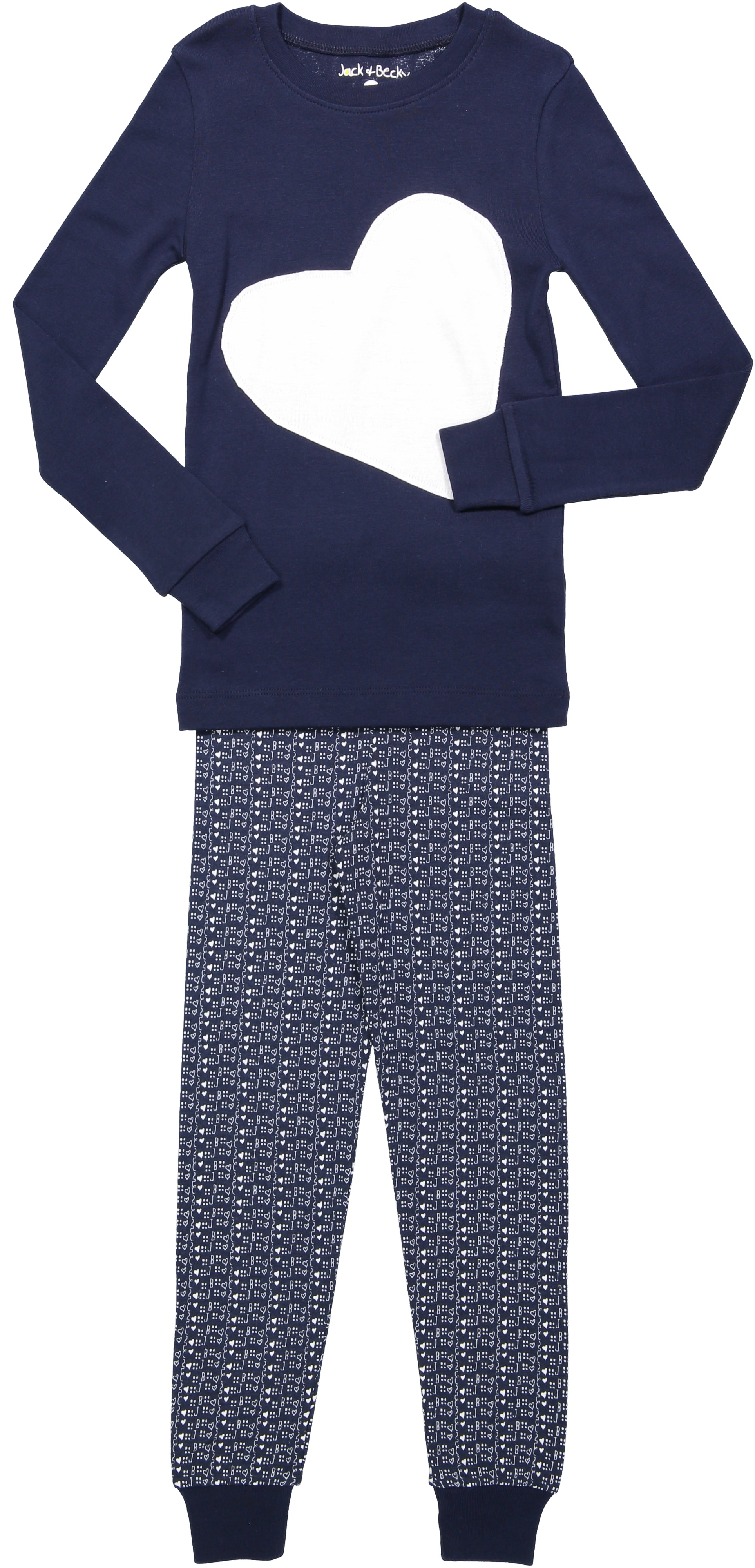 Jack and Becky Navy Pajamas With White Heart Patch