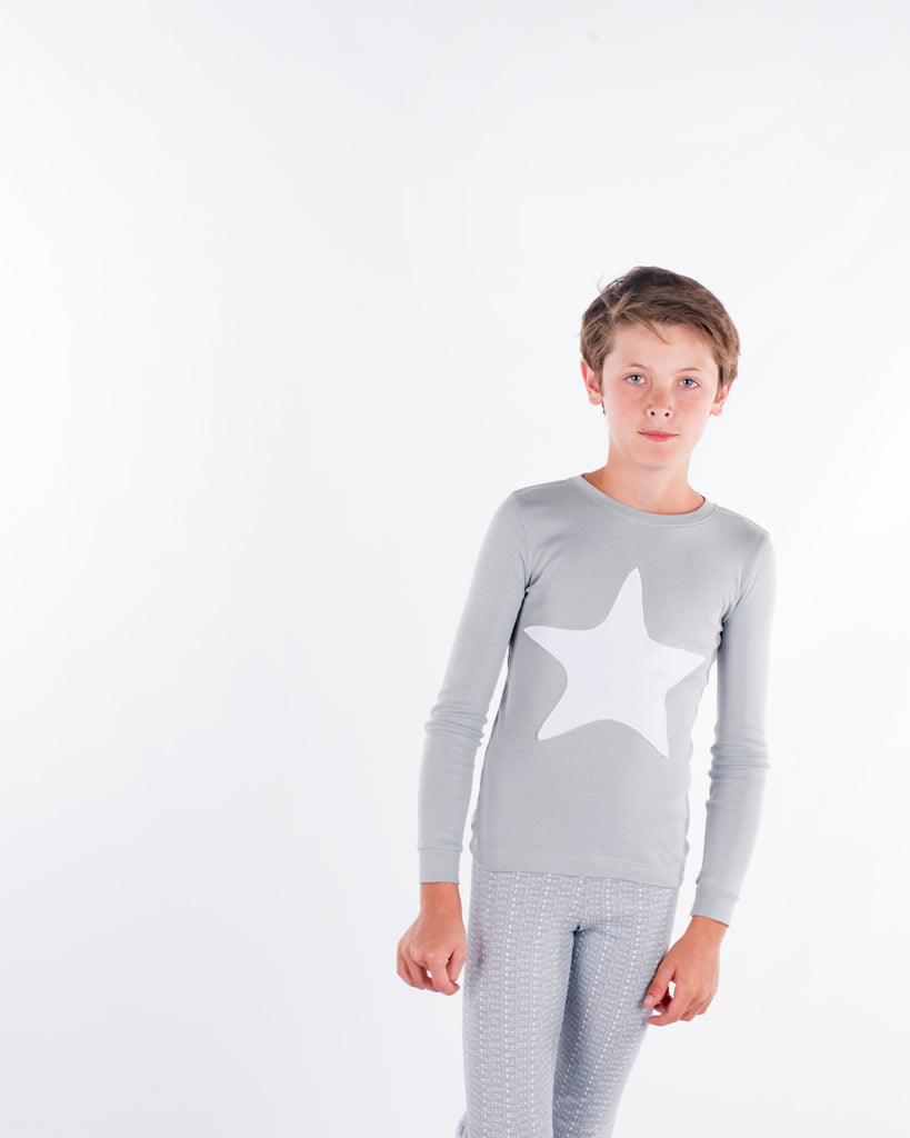 Jack and Becky Gray Pajamas With White Star Patch