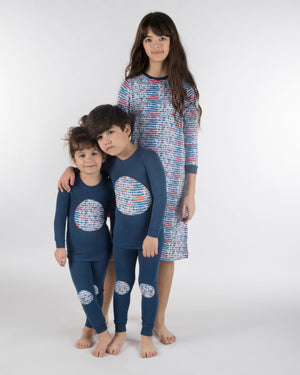 Jack and Becky SOFT Karen Blue Pajamas with Triangle Print Patches