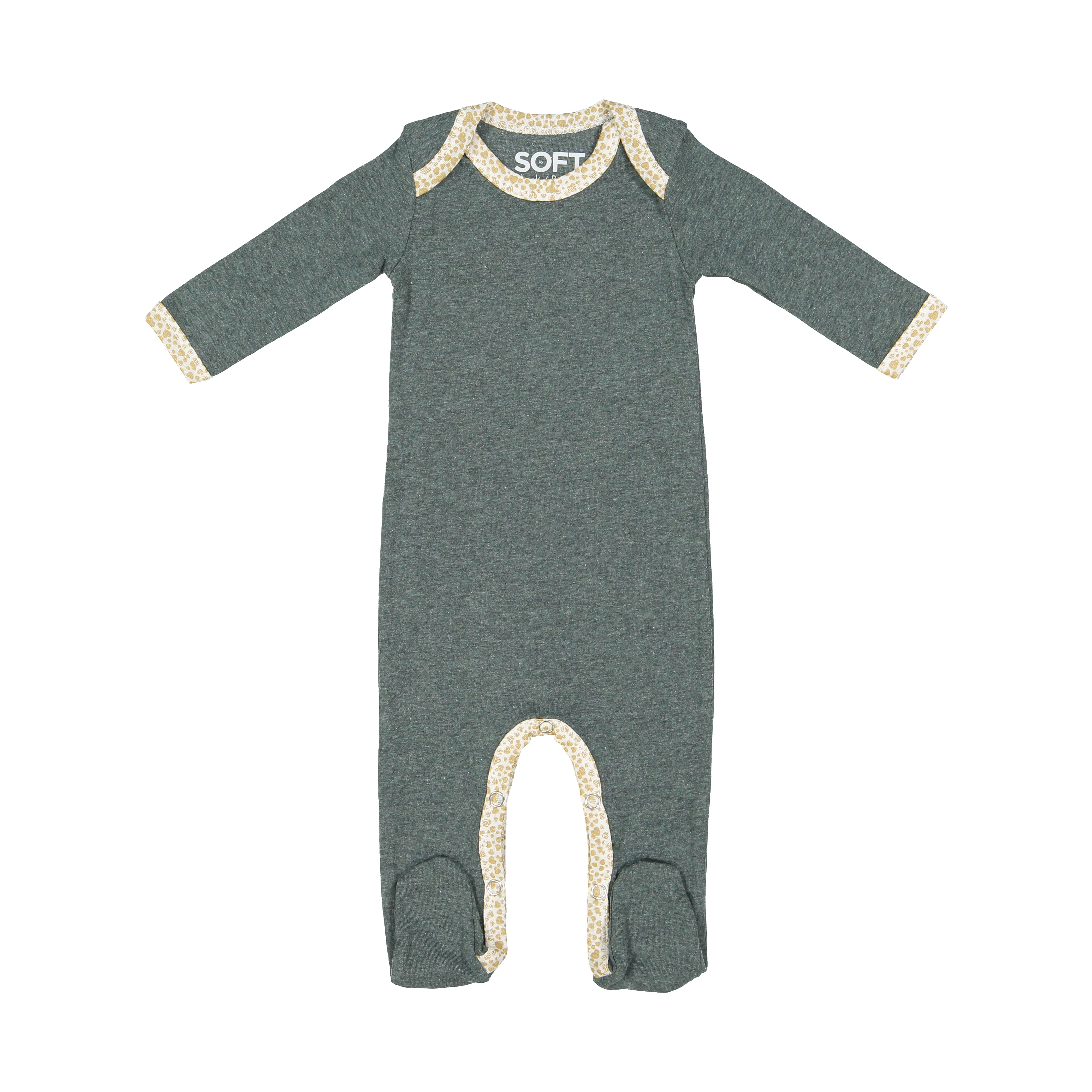 Jack and Becky SOFT Pine Heather Onesie with Gold Shimmer Hearts