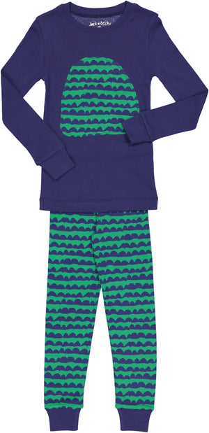 Jack and Becky Blue Pajamas With Green Kangaroo Patch