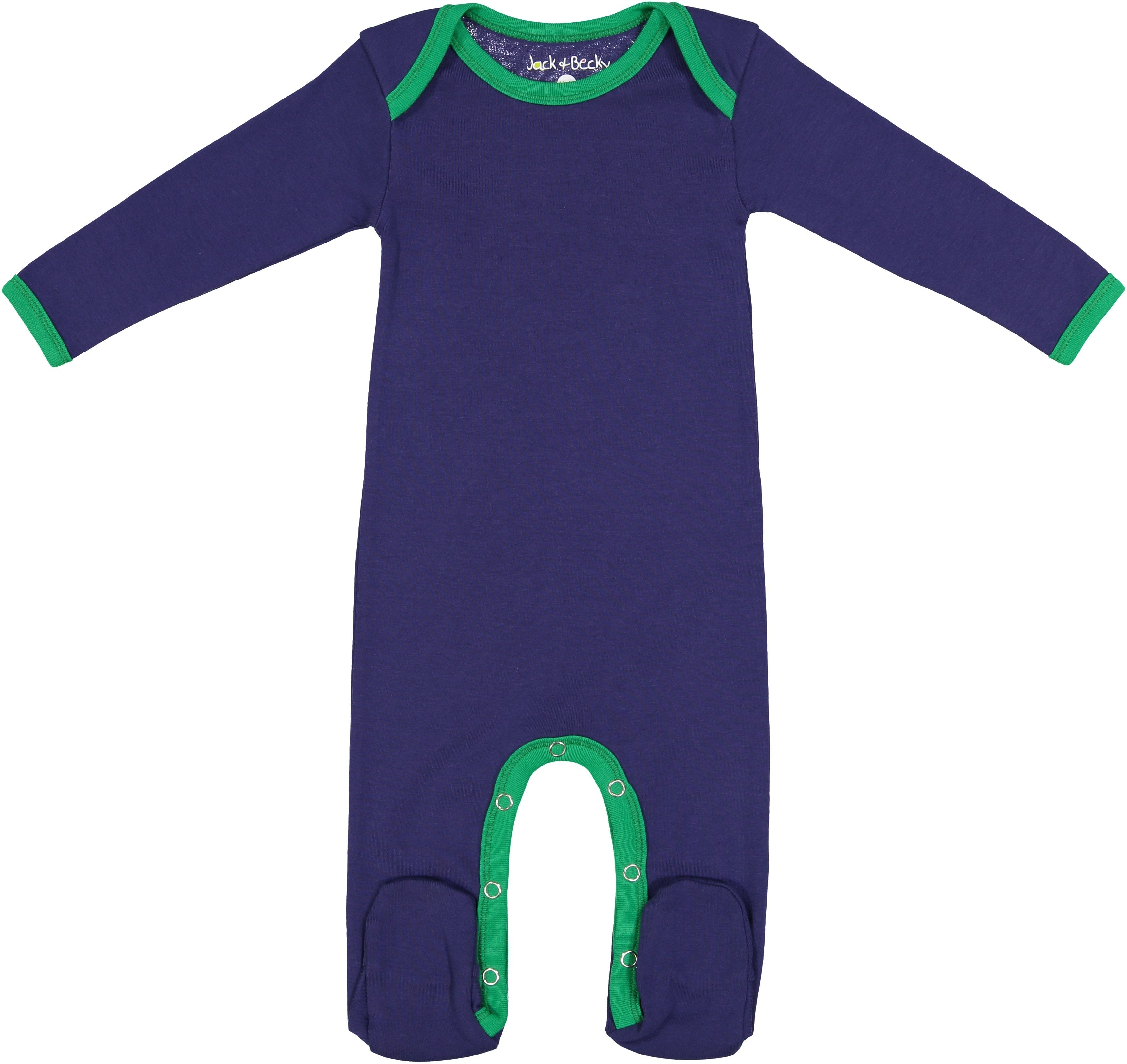 Jack and Becky Blue Onesie With Green Trim