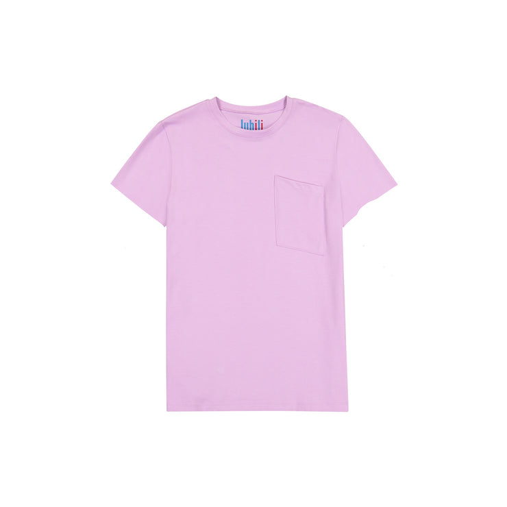 GIRLS POCKET IN LILAC SHORT SLEEVE T SHIRT