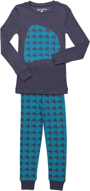 Jack and Becky Navy Pajamas With Blue Rhombus Print