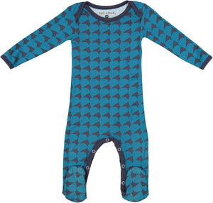 Jack and Becky Navy Onesie With Blue Rhombus Print