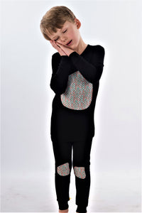 Jack and Becky SOFT Black Pajamas With Boys Scales Patch